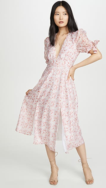 Glamorous Pink Ditsy Organza Midi Dress