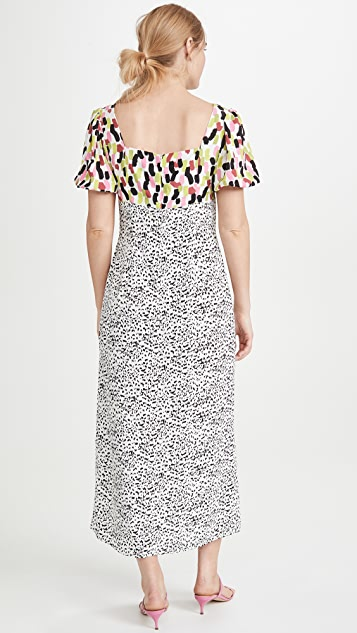 迷人无限 多色抽象斑点中长连衣裙