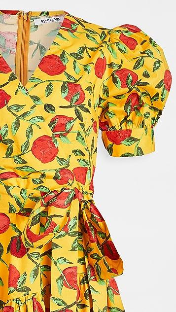 Glamorous 黄色红色水果迷你连衣裙