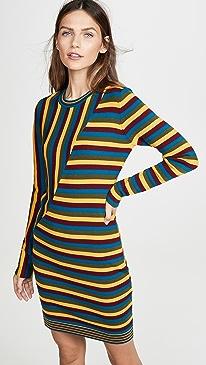 Long Sleeve Striped Mini Dress
