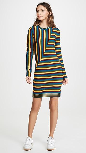 Victor Glemaud Long Sleeve Striped Mini Dress