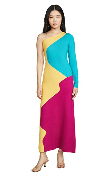 Victor Glemaud One Shoulder Long Sleeve Dress