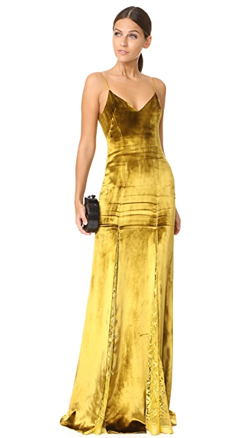 Galvan London Velvet & Lace Gown