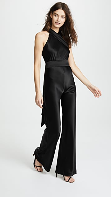 Galvan London Asymmetrical Sash Jumpsuit - Black