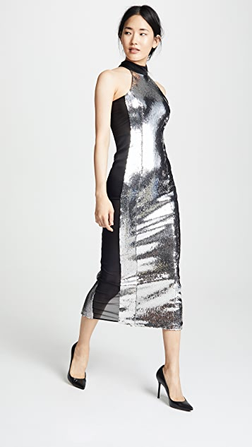 Galvan London Chrome Panel Dress