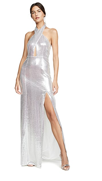 Galvan London Galaxy Flyover Sequined Dress