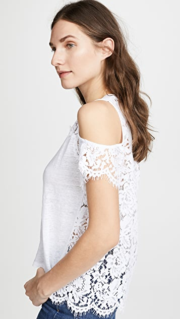Generation Love London Lace Cold Shoulder Tee - White