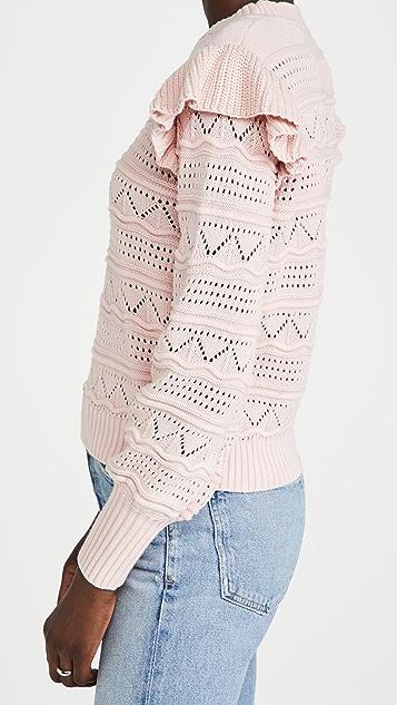 Generation Love Sienna Pointelle Ruffle Sweater