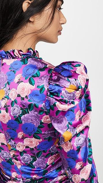 Giuseppe di Morabito Мини-платье с цветочным рисунком, V-образным вырезом и объемными рукавами