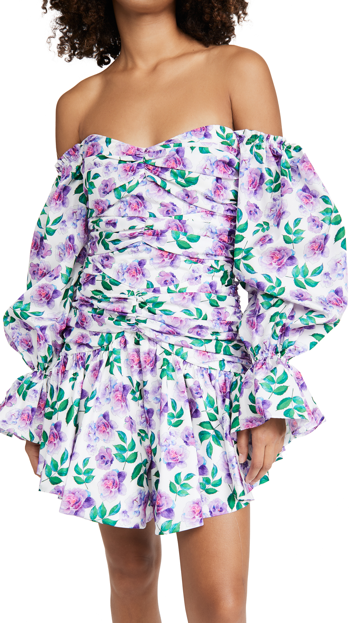 Giuseppe di Morabito Off Shoulder Long Sleeve Mini Dress