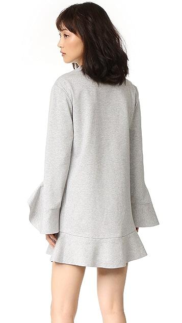 GOEN.J Long Sleeve Dress with Ruffle Trim