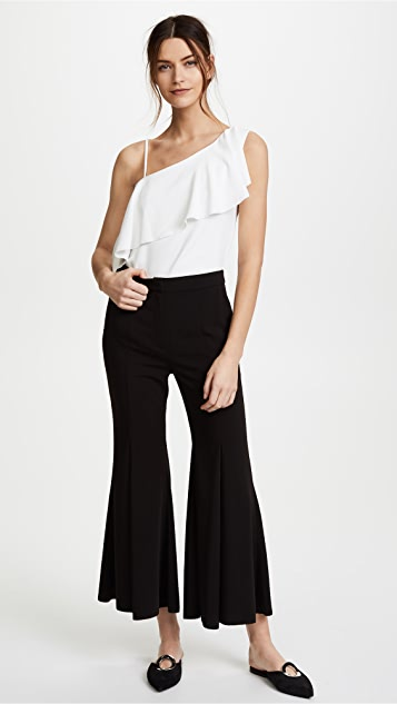 GOEN.J One Shoulder Asymmetrical Ruffle Blouse