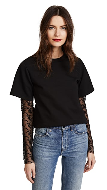 GOEN.J Lace Sleeve T-Shirt