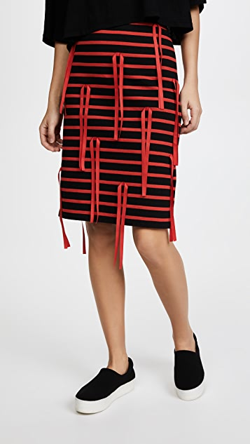 GOEN.J Striped Skirt with Ribbon