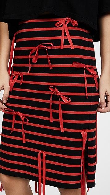 GOEN.J Striped Skirt with Ribbon