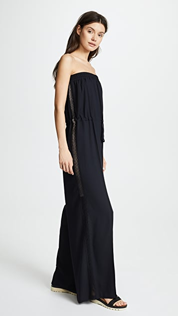 GOEN.J Strapless Jumpsuit with Side Lace Trim