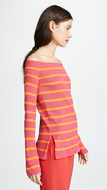 GOEN.J Off Shoulder Knit Top with Stripes