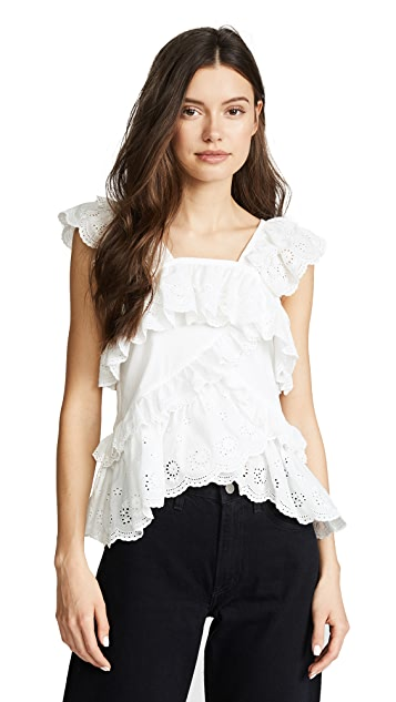 GOEN.J Sleeveless Top with Lace Ruffle Trim & Layers