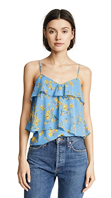GOEN.J Ruffled Cami with Floral Print