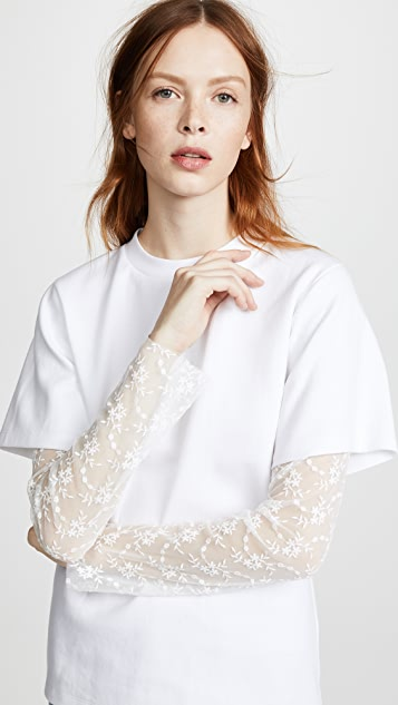 GOEN.J Lace Sleeve T-Shirt