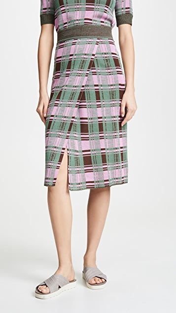 GOEN.J Plaid Knit Skirt - Green Multi