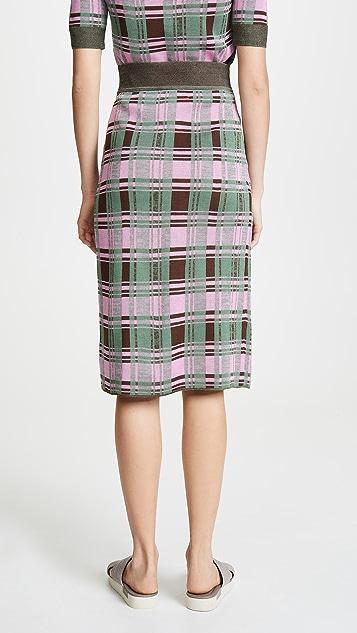 GOEN.J Plaid Knit Skirt