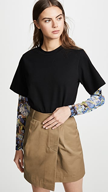 GOEN.J Floral Mesh Sleeves T-Shirt - Black/Multi