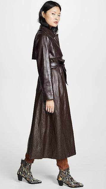 GOEN.J Faux Leather Trench Coat