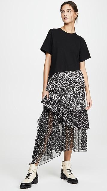 GOEN.J Asymmetric Floral Print Cotton Jersey Top Dress