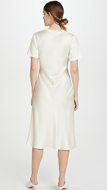 GOEN.J Overlayered Ruched Jersey and Satin Midi Dress