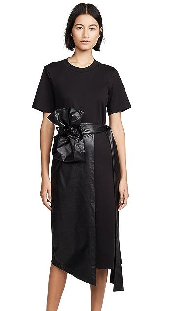 GOEN.J Faux Leather Overlay Wrap Dress