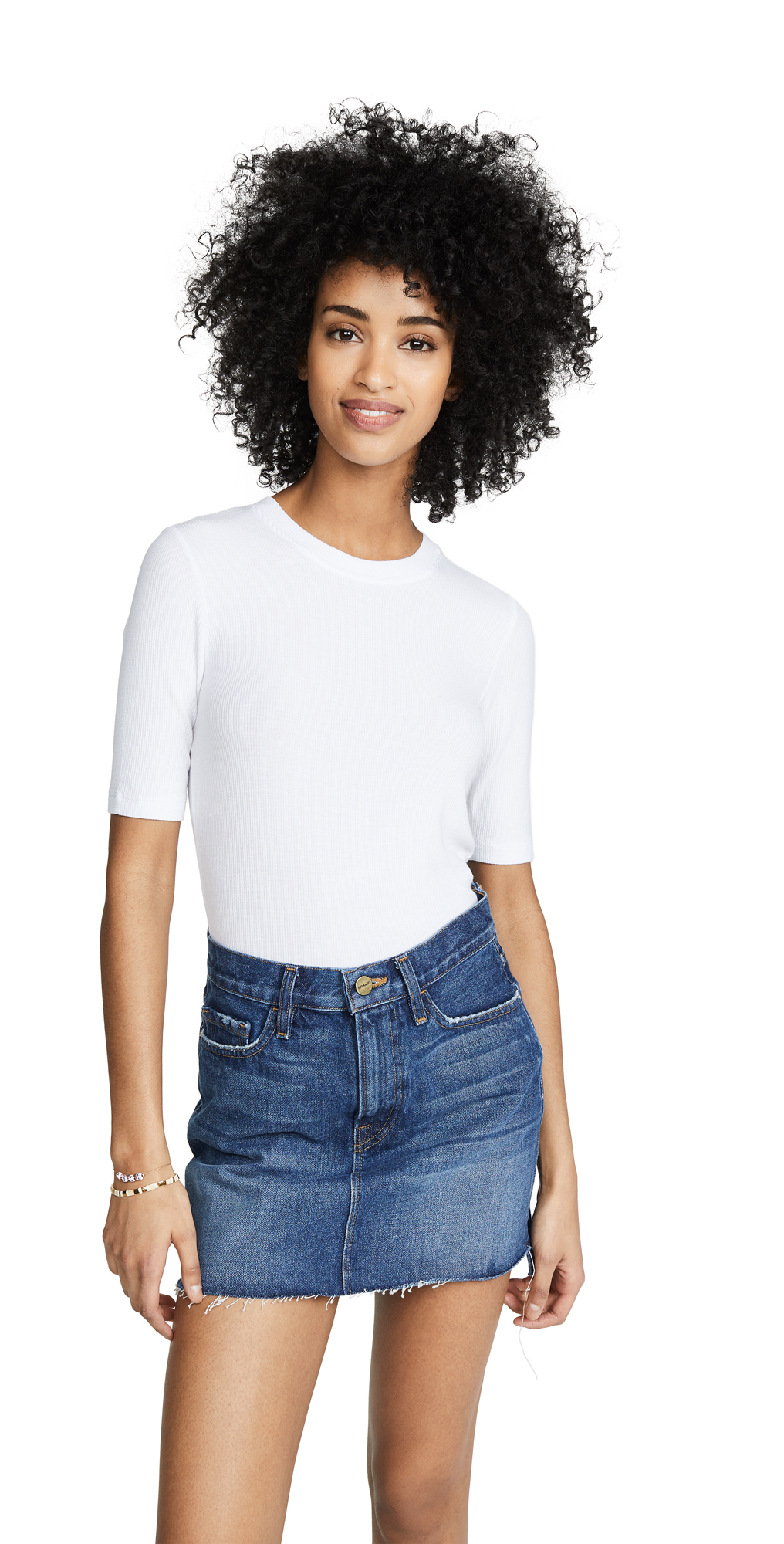 Ribbed Elbow Sleeve T-Shirt