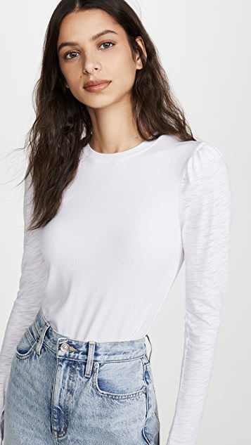 Goldie Long Sleeve Puff Shoulder Tee
