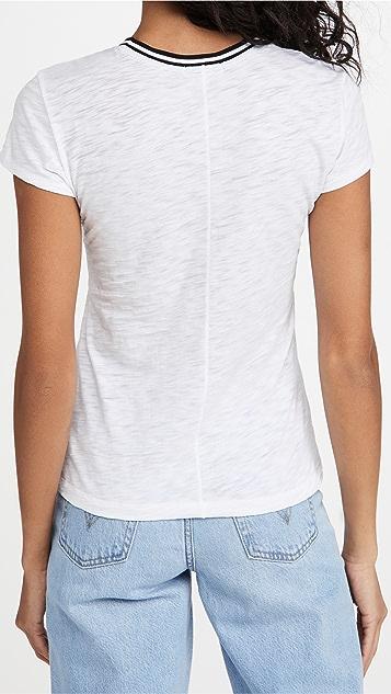 金色 Tipped Ringer 短袖 T 恤