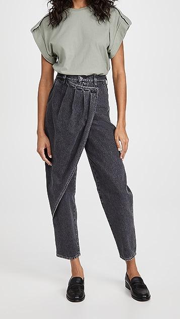 GOLDSIGN 裥褶裹身牛仔裤