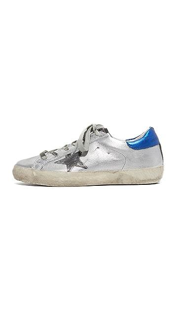 Golden Goose Superstar Silver Flag Sneakers