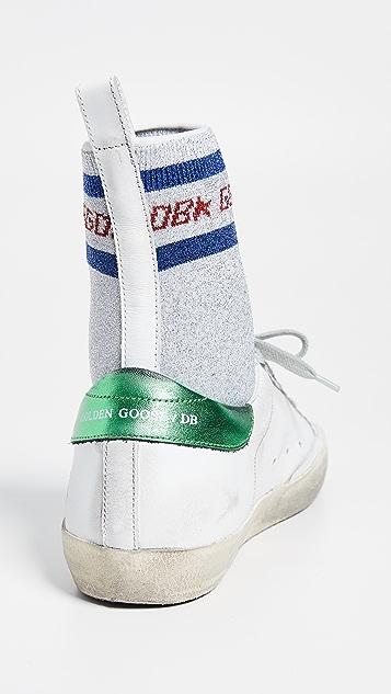Golden Goose Кроссовки-носки Supserstar с металлизированной отделкой