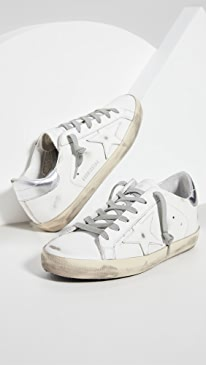 골든구스 Golden Goose Superstar Sneakers,White/Silver