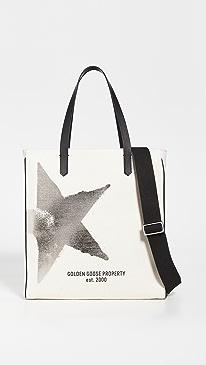 골든구스 캘리포니아백 Golden Goose California Golden Star N-S Bag,White/Gold