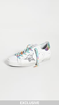 골든구스 Golden Goose Superstar Sneakers,White/Silver/Multicolor