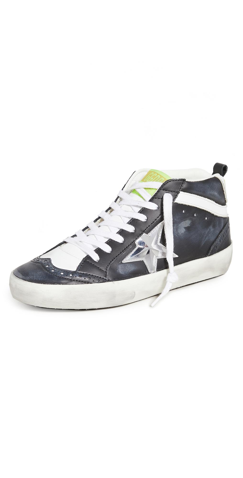 Golden Goose Midstar Sneakers In Black/white/silver