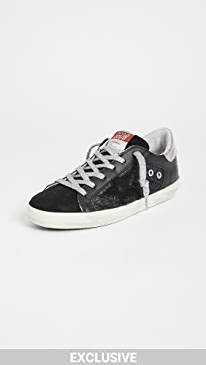 골든구스 Golden Goose Superstar Quilted Sneakers,Black/Silver
