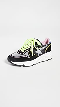 골든구스 Golden Goose Running Sole Sneakers,Black/Silver/Blue/Rainbow