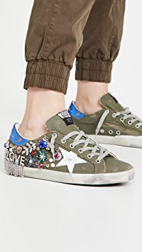 골든구스 Golden Goose Superstar Sneakers,Green/White/Blue