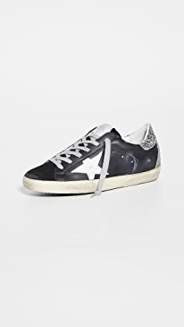 골든구스 Golden Goose Superstar Sneakers,Black/White/Silver