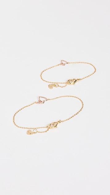 Gorjana Mini + Me Interlocking Hearts Bracelet Set