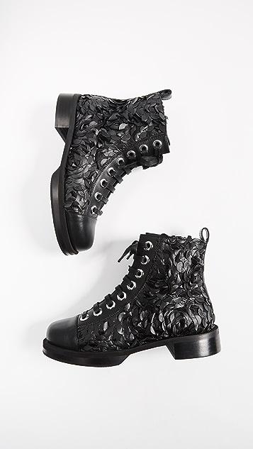 Greymer College Campari Combat Boots