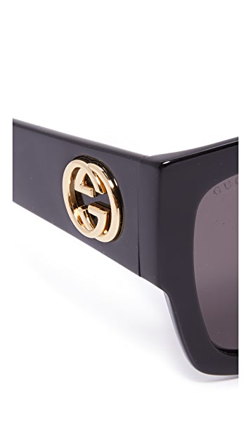 Gucci GG Emphasis Flat Top Oversized Sunglasses