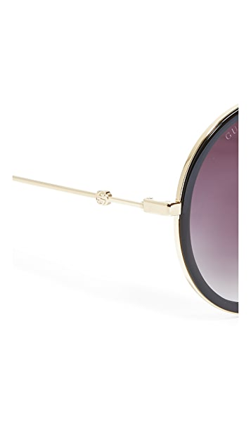 Gucci Urban Web Block Round Aviator Sunglasses
