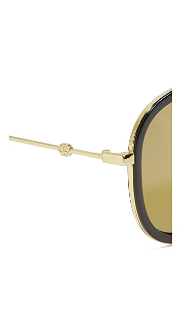 Gucci Flash Pilot Urban Web Block Aviator Sunglasses